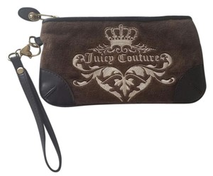 Juicy Couture Brown Leather Velour Wrist Wristlet in Chocolate