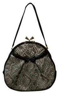 Moo Roo Embellished Brocade Vintage Inspired 1950's Parties Retro Design Satchel in Black/Metallic Silver