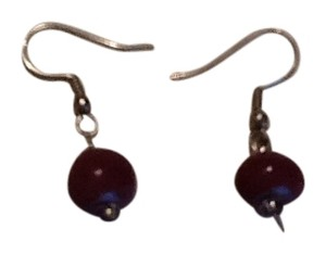 Silver tone and purple stone fish wire earrings