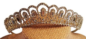 Wedding Gold Plated Austrian Crystal Tiara / Prom Gold Plated Tiara