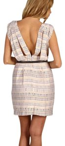 BCBGeneration short dress Cream with Black/Yellow Print on Tradesy
