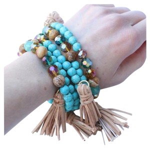 New One Turquoise Stone Stretch Bracelet Faux Suede Tassel
