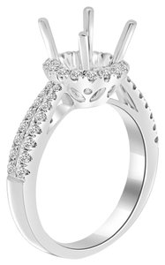 Avi and Co 1.00 cttw Round Diamond Pave Halo Engagement Semi-Mounting 18K White Gold