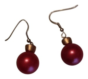 Red and gold dangle ball earrings