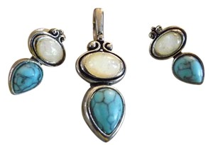 Turquoise and Moonstone Style Pendant and Earrings Teardrop Turquoise Pendant with Matching Earrings