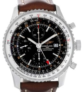 Breitling Breitling Navitimer World Chrono GMT Steel Brown Strap Watch A24322