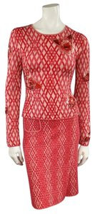 Chanel Red & Pink Rhombus Cashmere Sequin Flower Fall 2003 Skirt Suit