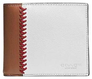 Coach Men's COACH Compact ID Wallet in Baseball Stitch Leather F75170 WD2 MSRP $185