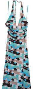 Max and Cleo short dress Aqua, brown, tan, blue Halter Geometric Print on Tradesy