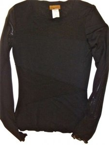 Oatt Collection Mesh Longsleeve Evening Sexy Chic Sheer Party Holiday Top Black