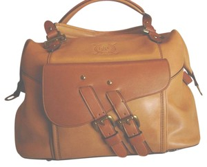 Ralph Lauren Leather Rl Monogram Satchel in Tan