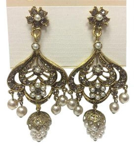 Satin Hamilton Gold Chandelier Earrings with Pearls