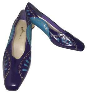 Annie Mid Heel Padded Footbed Easy Slip On Heels Purple and Turquoise Pumps