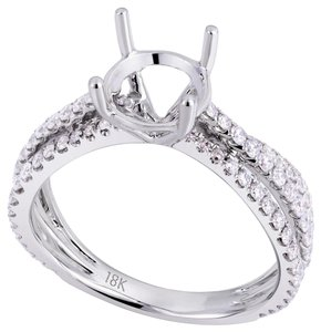 Avi and Co 0.75 cttw Round Diamond Triple Shank Engagement Semi-Mounting 18K White Gold