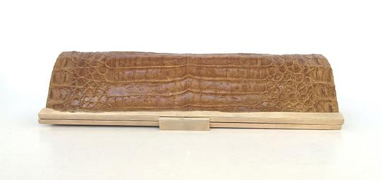Other Butterscotch Suede Crocodile Caramel Clutch