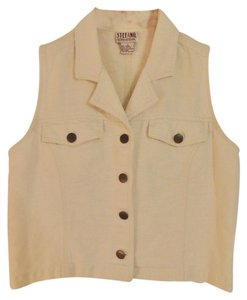 Stefano Sleeveless Denim Top Cream