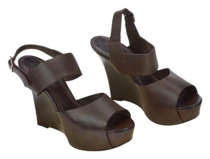 Marni Platform Leather Wood Brown Wedges