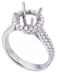 Avi and Co 0.75 cttw Round Cut Diamond Halo Engagement Semi-Mounting 18K White Gold