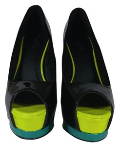 Qupid Black, neon yellow, neon blue Platforms