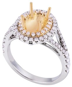 Avi and Co 0.75 cttw Round Diamond Halo Engagement Semi-Mounting 18K Two Tone Gold