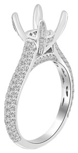 Avi and Co 1.50 cttw Round Diamond Pave Designer Engagement Semi-Mounting 18K White Gold