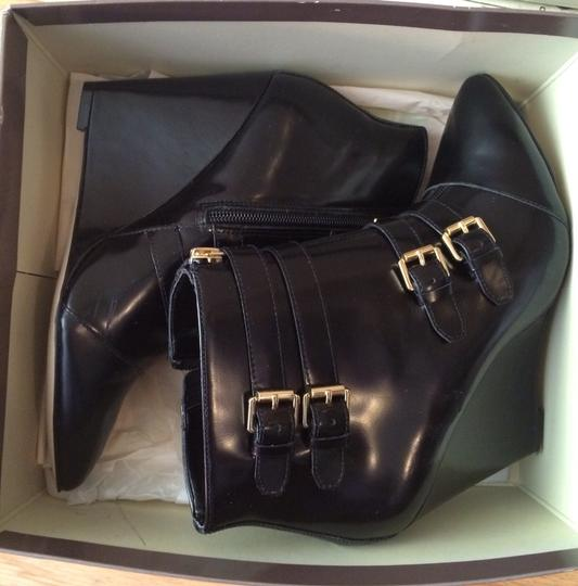 Renvy Leather Wedge Black/gold Boots