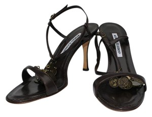 Manolo Blahnik Leather Coin Embellishments Brown Leather Sandals