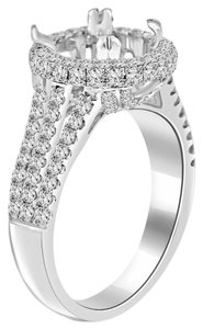 Avi and Co 1.50 cttw Round Diamond Split Shank Halo Engagement Semi-Mounting 18K White Gold