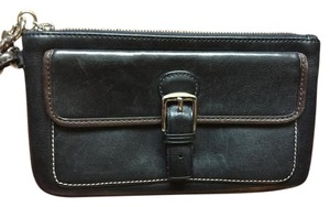 Coach Leather Silver Buckle Wristlet