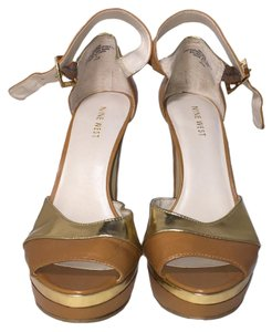 Nine West Ankle Strap Sandals Open Toe Beige | Gold Platforms