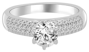 Avi and Co 1.22 cttw Round Brilliant Cut Diamond Micro-Pave Engagement Ring 14K White Gold