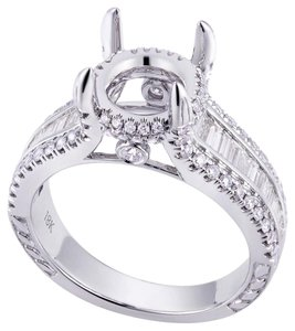 Avi and Co 0.85 cttw Round & Baguette Diamond Halo Engagement Mounting 18K White Gold