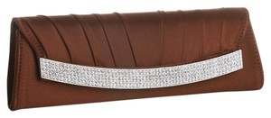 Mariell Brown Satin Evening Clutch Bag With Inlaid Crystals 3284eb-br