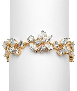 Mariell Top Selling Mosaic Shaped Cz Wedding Bracelet In 14k Gold Plating - Petite Size 4129b-g-6