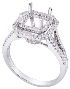 Avi and Co 0.70 cttw Round Diamond Double Halo Engagement Semi-Mounting 18K White Gold