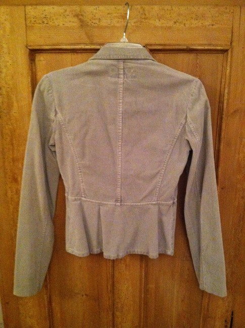 French Connection Puffy Sleeves Cropped Princess Sleeves Courduroy Grey Blazer