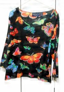 Jane Ashley Washable Hand Washable Beaded Knit Mariposa Colorful Fun Knit Top multi-colored butterflies, black background