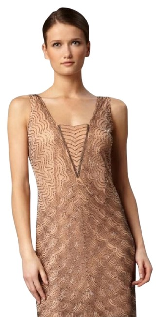 Item - Nude with Pewter and Brown Beading Unknown Knee Length Cocktail Dress Size 0 (XS)