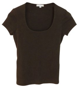 fragile Half Scoop Neck Cotton Top Black