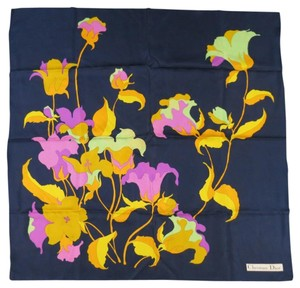 Dior Vintage CHRISTIAN DIOR Navy Yellow Mint & Purple Floral Silk Scarf