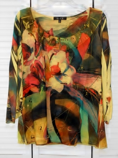 B.L.E.U. Embellishments Hand Washable Polyester Fun Top multi-color floral, predominantly yellow/orange with green and dark gray