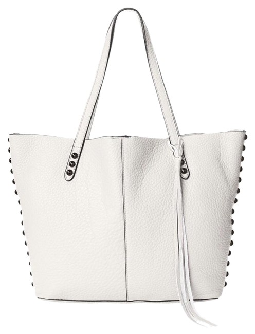 Item - Unlined Studded Putty/White Leather Tote