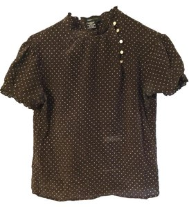 BCBGMAXAZRIA Top Brown with beige polka dots