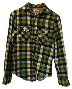 Burlington Button Down Shirt Navy, green, yellow & white