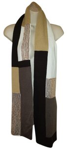 Block knit sequined ivory, tan, & brown scarf