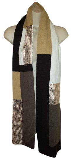 Preload https://item2.tradesy.com/images/scarf-block-knit-sequined-ivory-tan-and-brown-scarf-1513901-0-0.jpg?width=440&height=440