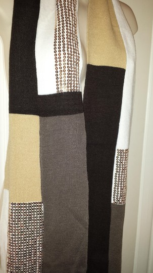 Other Block knit sequined ivory, tan, & brown scarf
