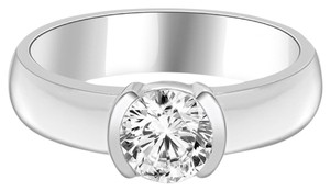 Avi and Co 0.90 ct Round Brilliant Cut Diamond Half Bezel Engagement Ring 14k White Gold