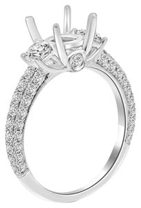 Avi and Co 1.75 cttw Round Diamond Pave 3 Stone Engagement Semi-Mounting 18K White Gold
