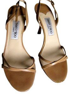 Jimmy Choo Summer Color Strappy Heels 100% Leather Heels Camel Sandals